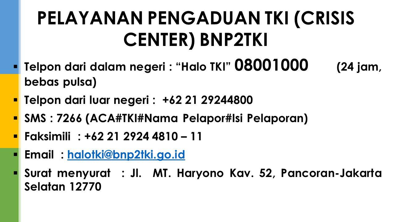 " Telpon dari dalam negeri : ""Halo TKI"" 08001000 (24 jam, bebas pulsa)  Telpon dari luar negeri : +62 21 29244800  SMS : 7266 (ACA#TKI#Nama Pelapor#"