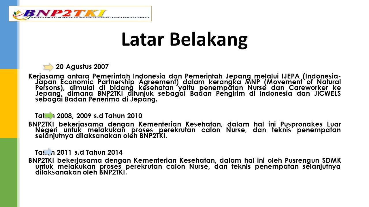 20 Agustus 2007 Kerjasama antara Pemerintah Indonesia dan Pemerintah Jepang melalui IJEPA (Indonesia- Japan Economic Partnership Agreement) dalam kera