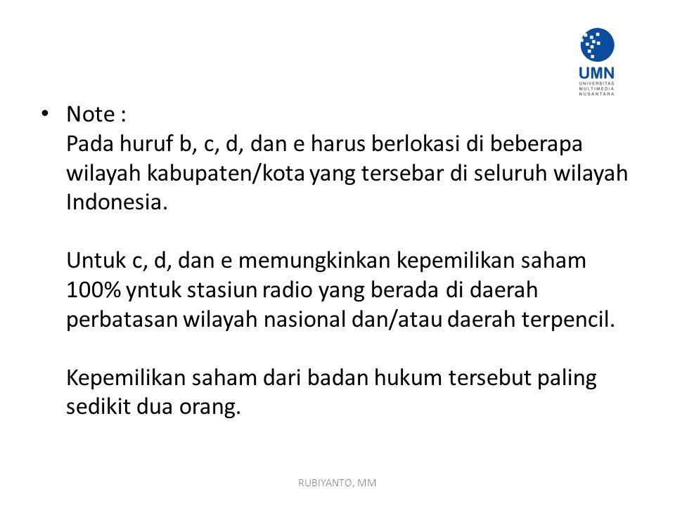 Note : Pada huruf b, c, d, dan e harus berlokasi di beberapa wilayah kabupaten/kota yang tersebar di seluruh wilayah Indonesia. Untuk c, d, dan e memu