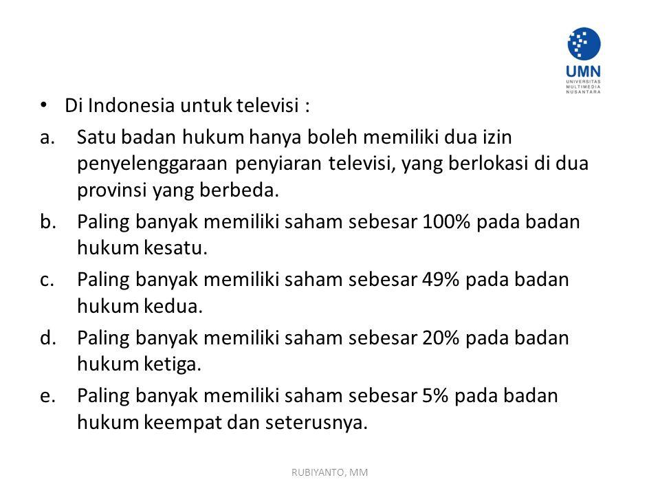 Di Indonesia untuk televisi : a.Satu badan hukum hanya boleh memiliki dua izin penyelenggaraan penyiaran televisi, yang berlokasi di dua provinsi yang