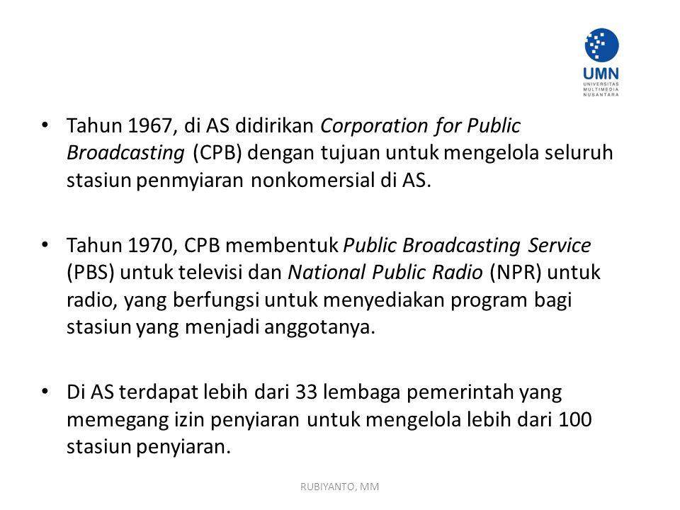 Tahun 1967, di AS didirikan Corporation for Public Broadcasting (CPB) dengan tujuan untuk mengelola seluruh stasiun penmyiaran nonkomersial di AS. Tah
