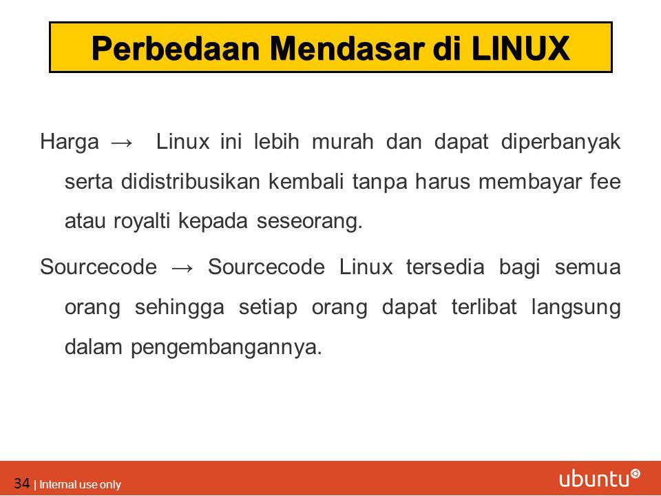 34 | Internal use only Harga → Linux ini lebih murah dan dapat diperbanyak serta didistribusikan kembali tanpa harus membayar fee atau royalti kepada