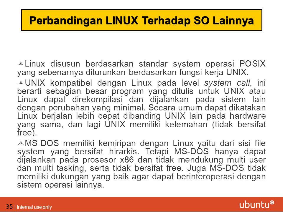 35 | Internal use only  Linux disusun berdasarkan standar system operasi POSIX yang sebenarnya diturunkan berdasarkan fungsi kerja UNIX.  UNIX kompa