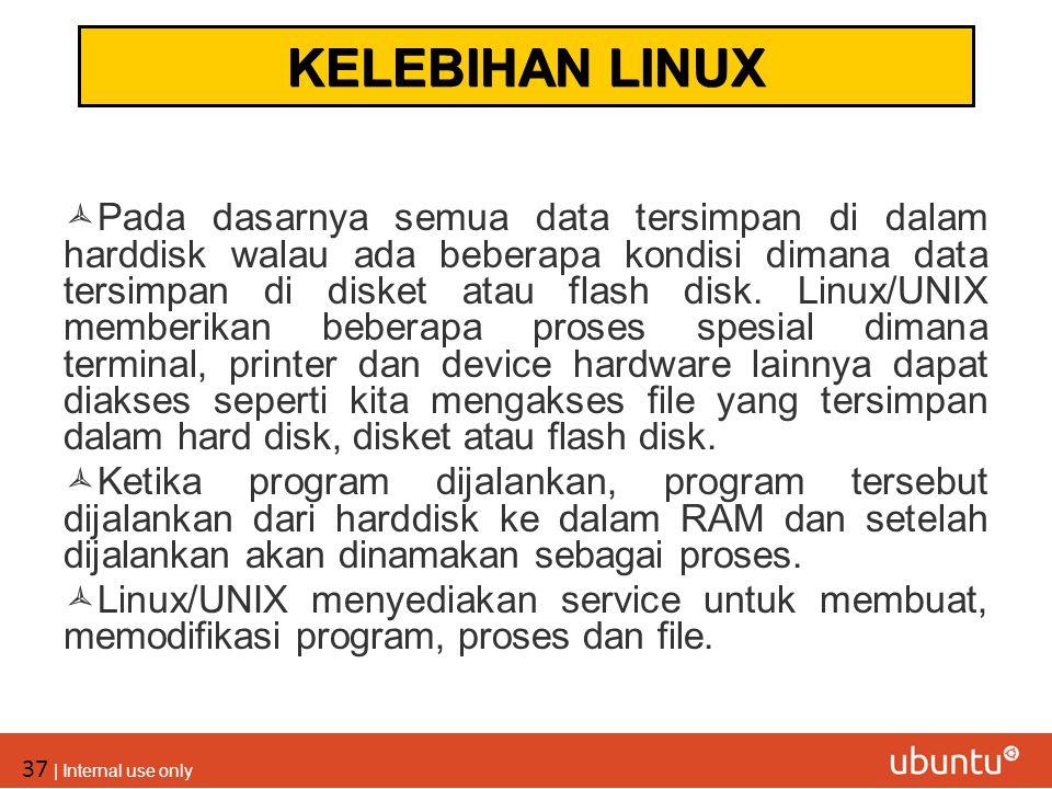 37 | Internal use only  Pada dasarnya semua data tersimpan di dalam harddisk walau ada beberapa kondisi dimana data tersimpan di disket atau flash di