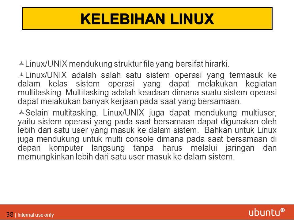 38 | Internal use only  Linux/UNIX mendukung struktur file yang bersifat hirarki.  Linux/UNIX adalah salah satu sistem operasi yang termasuk ke dala