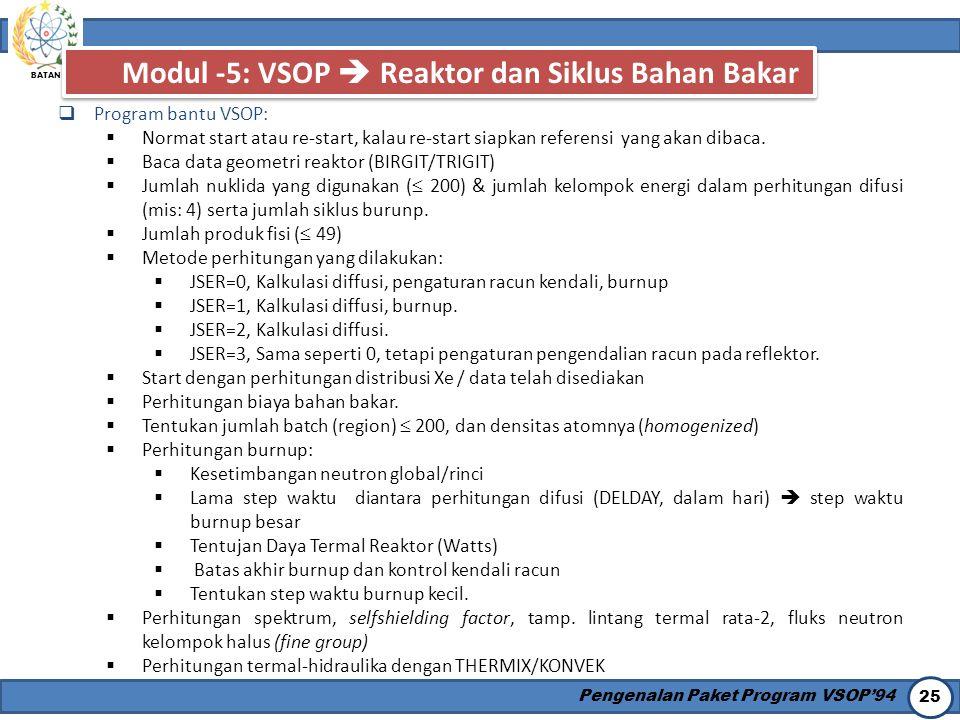 BATAN Pengenalan Paket Program VSOP'94 25 Modul -5: VSOP  Reaktor dan Siklus Bahan Bakar  Program bantu VSOP:  Normat start atau re-start, kalau re