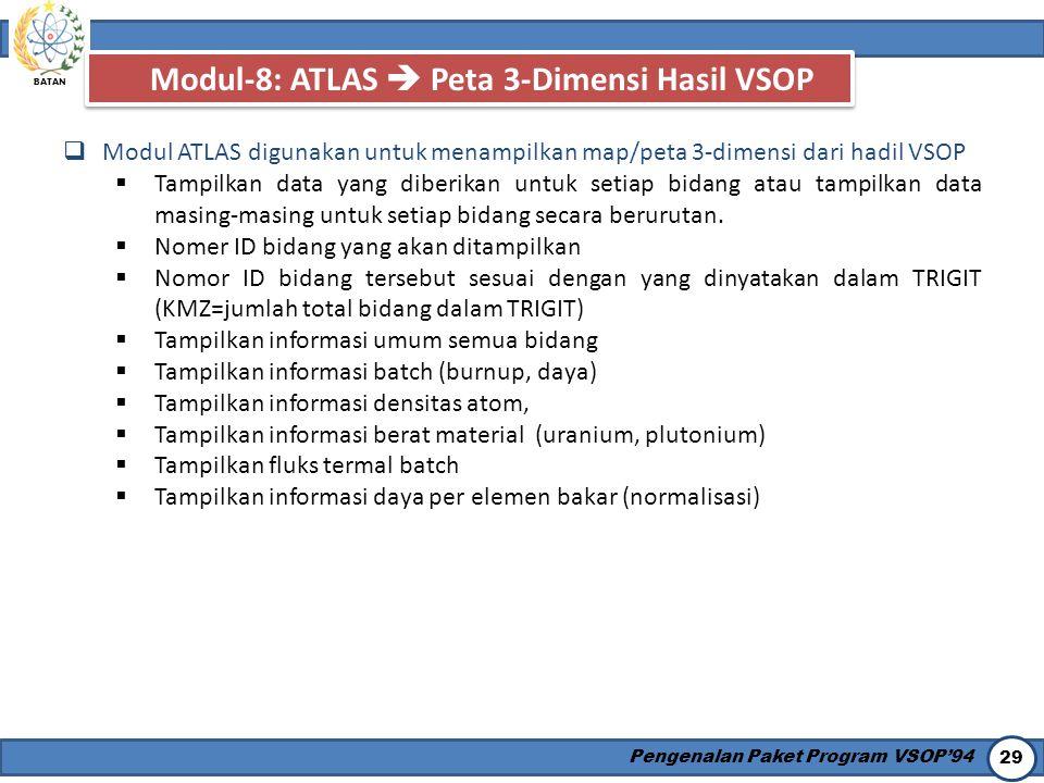 BATAN Pengenalan Paket Program VSOP'94 29 Modul-8: ATLAS  Peta 3-Dimensi Hasil VSOP  Modul ATLAS digunakan untuk menampilkan map/peta 3-dimensi dari