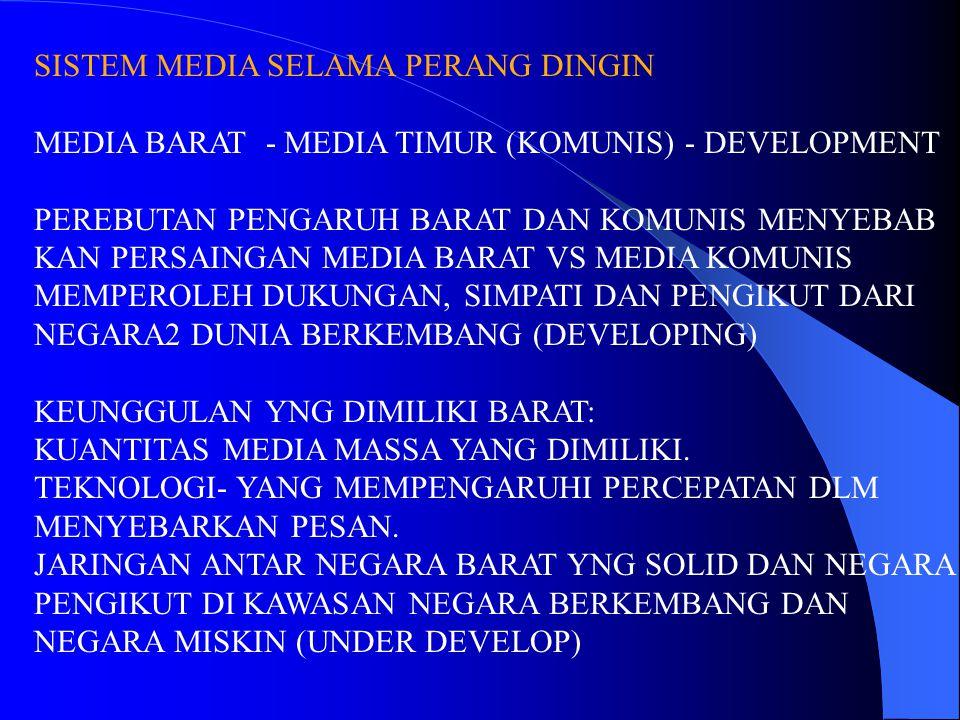SISTEM MEDIA SELAMA PERANG DINGIN MEDIA BARAT - MEDIA TIMUR (KOMUNIS) - DEVELOPMENT PEREBUTAN PENGARUH BARAT DAN KOMUNIS MENYEBAB KAN PERSAINGAN MEDIA