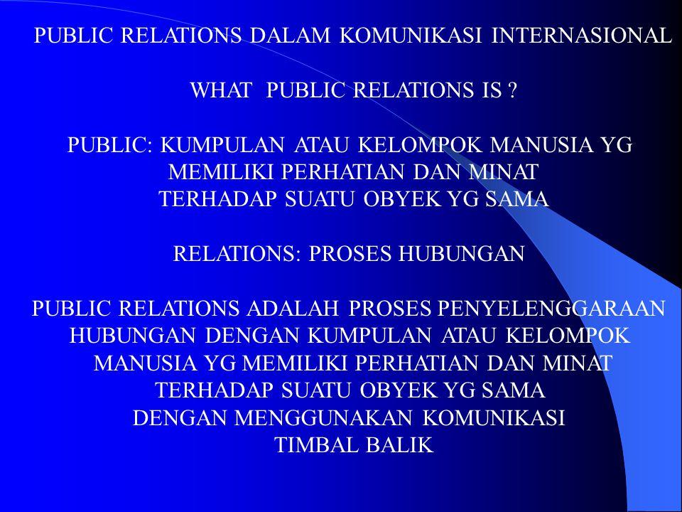 PUBLIC RELATIONS DALAM KOMUNIKASI INTERNASIONAL WHAT PUBLIC RELATIONS IS ? PUBLIC: KUMPULAN ATAU KELOMPOK MANUSIA YG MEMILIKI PERHATIAN DAN MINAT TERH