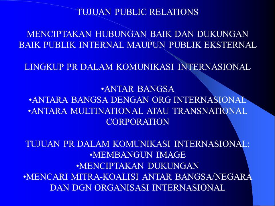TUJUAN PUBLIC RELATIONS MENCIPTAKAN HUBUNGAN BAIK DAN DUKUNGAN BAIK PUBLIK INTERNAL MAUPUN PUBLIK EKSTERNAL LINGKUP PR DALAM KOMUNIKASI INTERNASIONAL