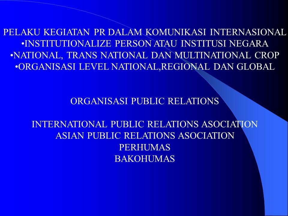 PELAKU KEGIATAN PR DALAM KOMUNIKASI INTERNASIONAL INSTITUTIONALIZE PERSON ATAU INSTITUSI NEGARA NATIONAL, TRANS NATIONAL DAN MULTINATIONAL CROP ORGANI