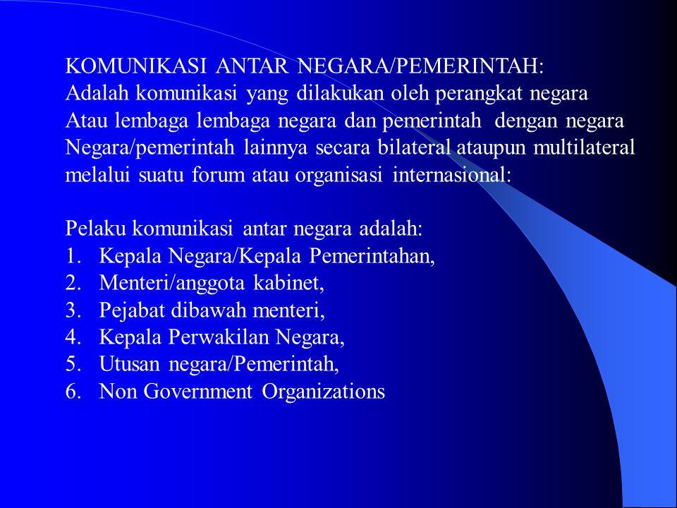 KOMUNIKASI ANTAR NEGARA/PEMERINTAH: Adalah komunikasi yang dilakukan oleh perangkat negara Atau lembaga lembaga negara dan pemerintah dengan negara Ne