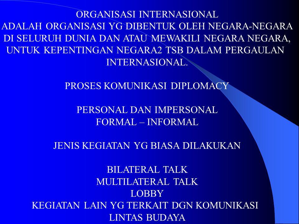 ORGANISASI INTERNASIONAL ADALAH ORGANISASI YG DIBENTUK OLEH NEGARA-NEGARA DI SELURUH DUNIA DAN ATAU MEWAKILI NEGARA NEGARA, UNTUK KEPENTINGAN NEGARA2
