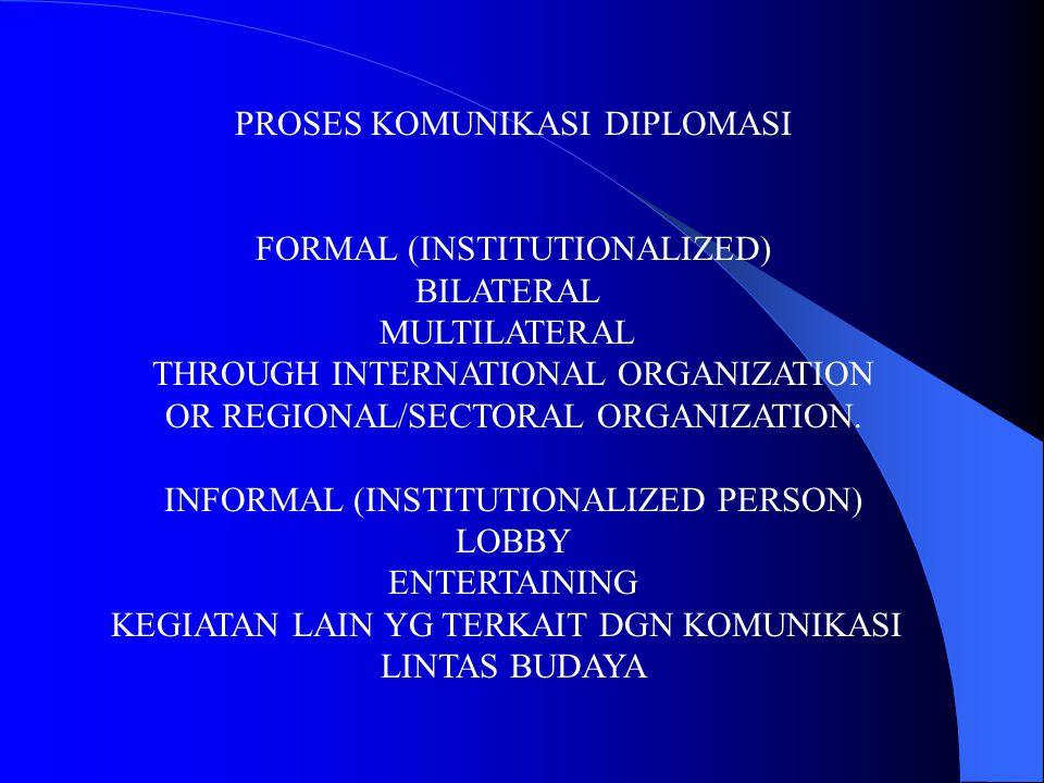 PROSES KOMUNIKASI DIPLOMASI FORMAL (INSTITUTIONALIZED) BILATERAL MULTILATERAL THROUGH INTERNATIONAL ORGANIZATION OR REGIONAL/SECTORAL ORGANIZATION. IN