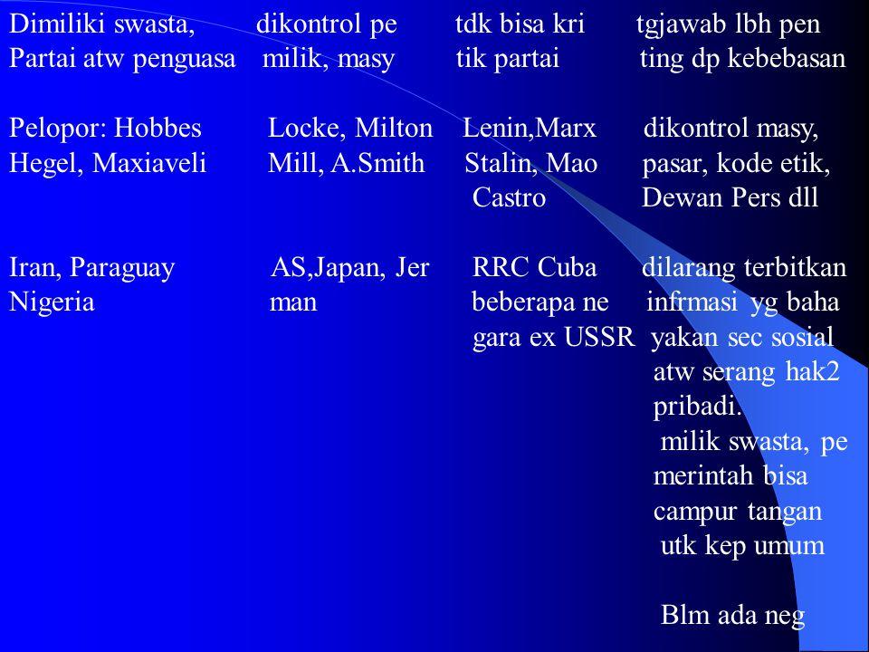 Dimiliki swasta, dikontrol pe tdk bisa kri tgjawab lbh pen Partai atw penguasa milik, masy tik partai ting dp kebebasan Pelopor: Hobbes Locke, Milton Lenin,Marx dikontrol masy, Hegel, Maxiaveli Mill, A.Smith Stalin, Mao pasar, kode etik, Castro Dewan Pers dll Iran, Paraguay AS,Japan, Jer RRC Cuba dilarang terbitkan Nigeria man beberapa ne infrmasi yg baha gara ex USSR yakan sec sosial atw serang hak2 pribadi.