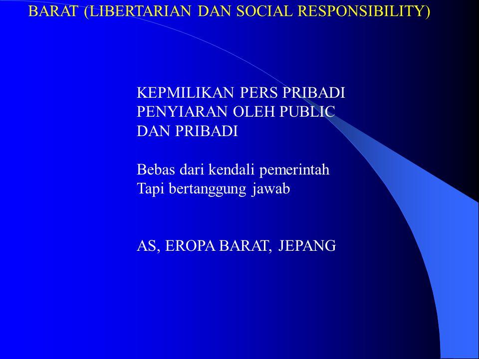 BARAT (LIBERTARIAN DAN SOCIAL RESPONSIBILITY) KEPMILIKAN PERS PRIBADI PENYIARAN OLEH PUBLIC DAN PRIBADI Bebas dari kendali pemerintah Tapi bertanggung