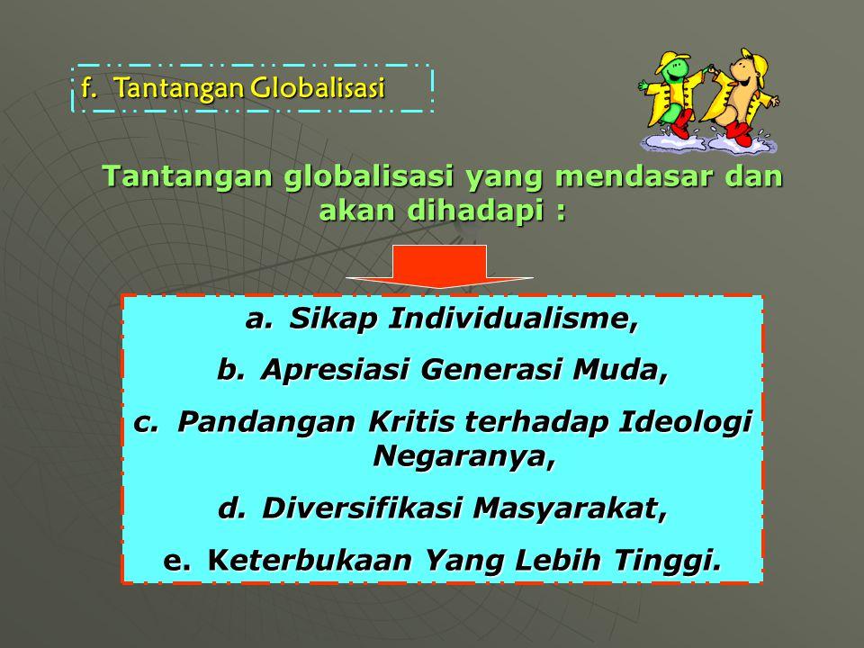 f.Tantangan Globalisasi a.Sikap Individualisme, b.Apresiasi Generasi Muda, c.Pandangan Kritis terhadap Ideologi Negaranya, d.Diversifikasi Masyarakat, e.Keterbukaan Yang Lebih Tinggi.