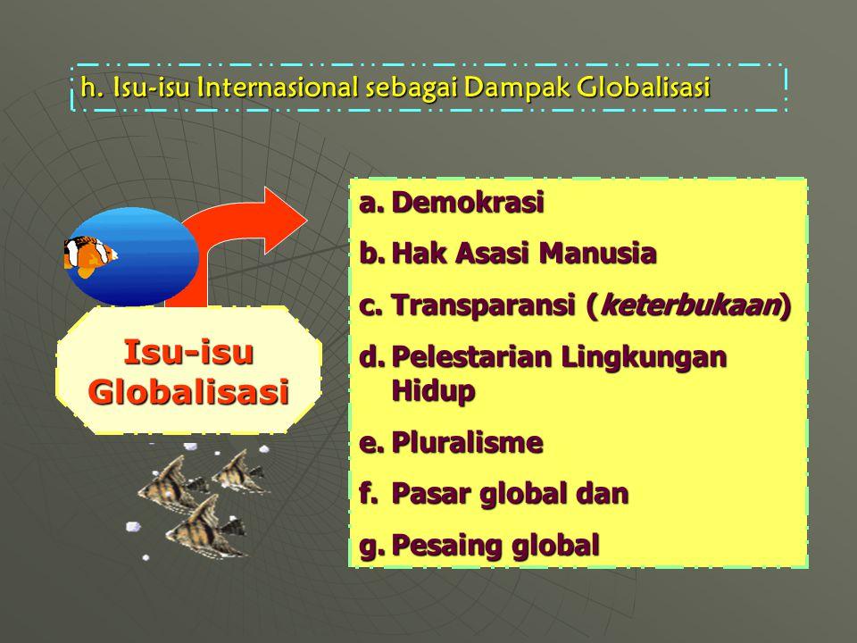 h.Isu-isu Internasional sebagai Dampak Globalisasi a.Demokrasi b.Hak Asasi Manusia c.Transparansi (keterbukaan) d.Pelestarian Lingkungan Hidup e.Pluralisme f.Pasar global dan g.Pesaing global Isu-isu Globalisasi