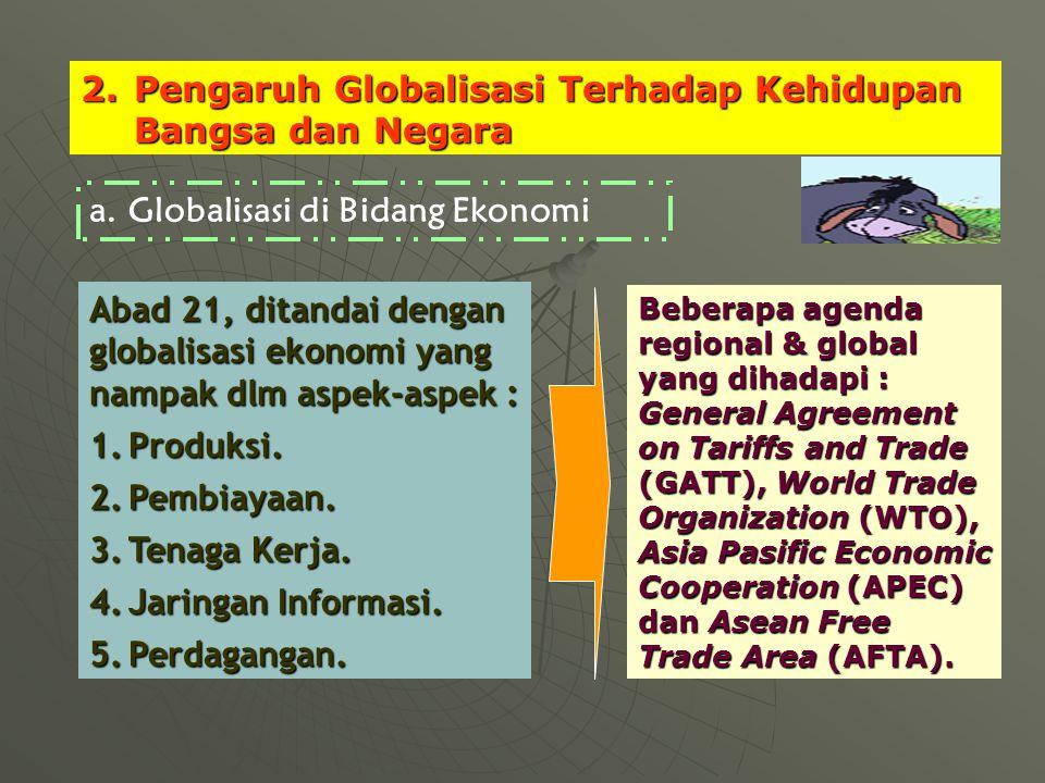2.Pengaruh Globalisasi Terhadap Kehidupan Bangsa dan Negara Abad 21, ditandai dengan globalisasi ekonomi yang nampak dlm aspek-aspek : 1.Produksi.