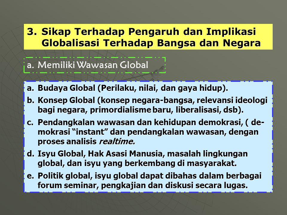 a.Memiliki Wawasan Global 3.Sikap Terhadap Pengaruh dan Implikasi Globalisasi Terhadap Bangsa dan Negara a.Budaya Global (Perilaku, nilai, dan gaya hidup).