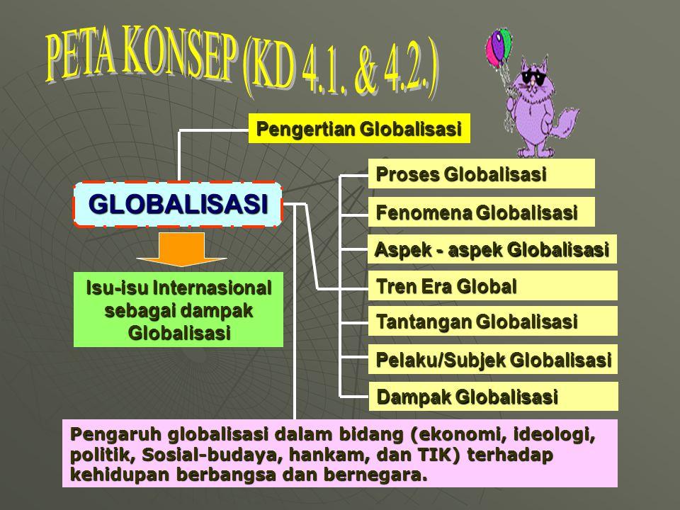 Pengertian Globalisasi GLOBALISASI Proses Globalisasi Fenomena Globalisasi Aspek - aspek Globalisasi Tren Era Global Tantangan Globalisasi Pelaku/Subjek Globalisasi Dampak Globalisasi Isu-isu Internasional sebagai dampak Globalisasi Pengaruh globalisasi dalam bidang (ekonomi, ideologi, politik, Sosial-budaya, hankam, dan TIK) terhadap kehidupan berbangsa dan bernegara.