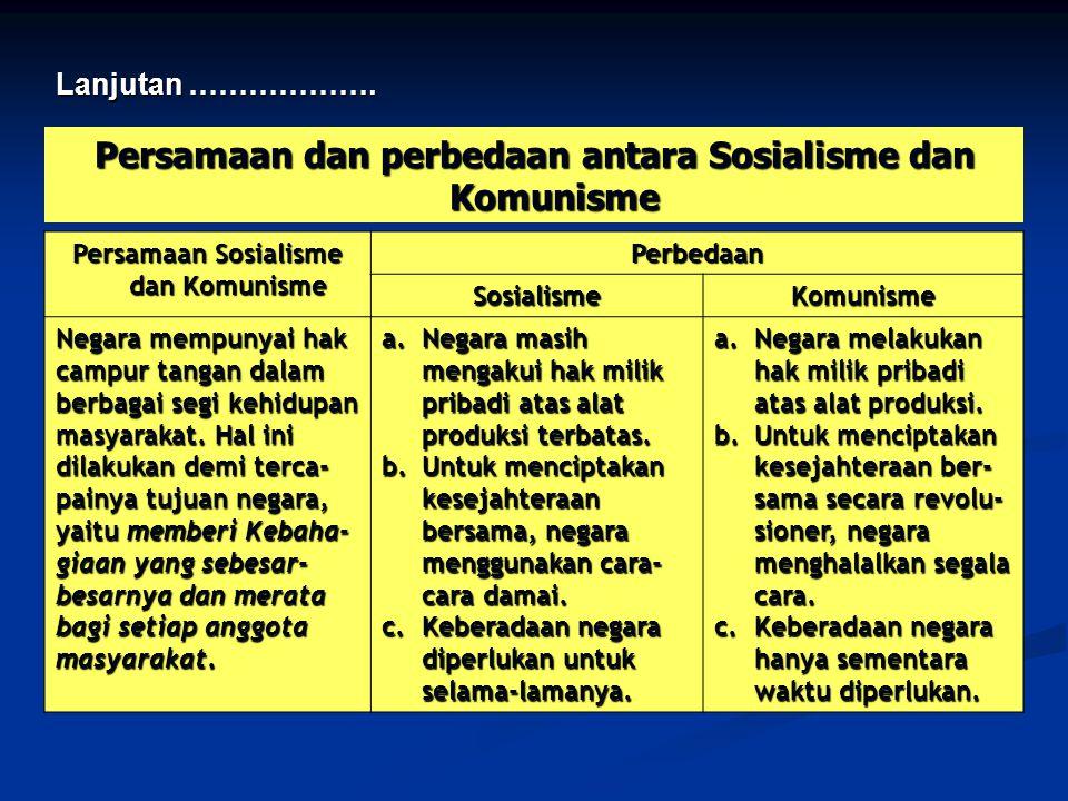 Persamaan dan perbedaan antara Sosialisme dan Komunisme Persamaan Sosialisme dan Komunisme Perbedaan SosialismeKomunisme Negara mempunyai hak campur tangan dalam berbagai segi kehidupan masyarakat.