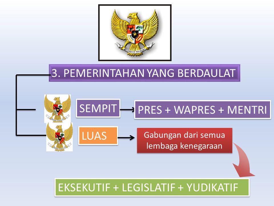 3. PEMERINTAHAN YANG BERDAULAT LUAS SEMPIT Gabungan dari semua lembaga kenegaraan PRES + WAPRES + MENTRI EKSEKUTIF + LEGISLATIF + YUDIKATIF