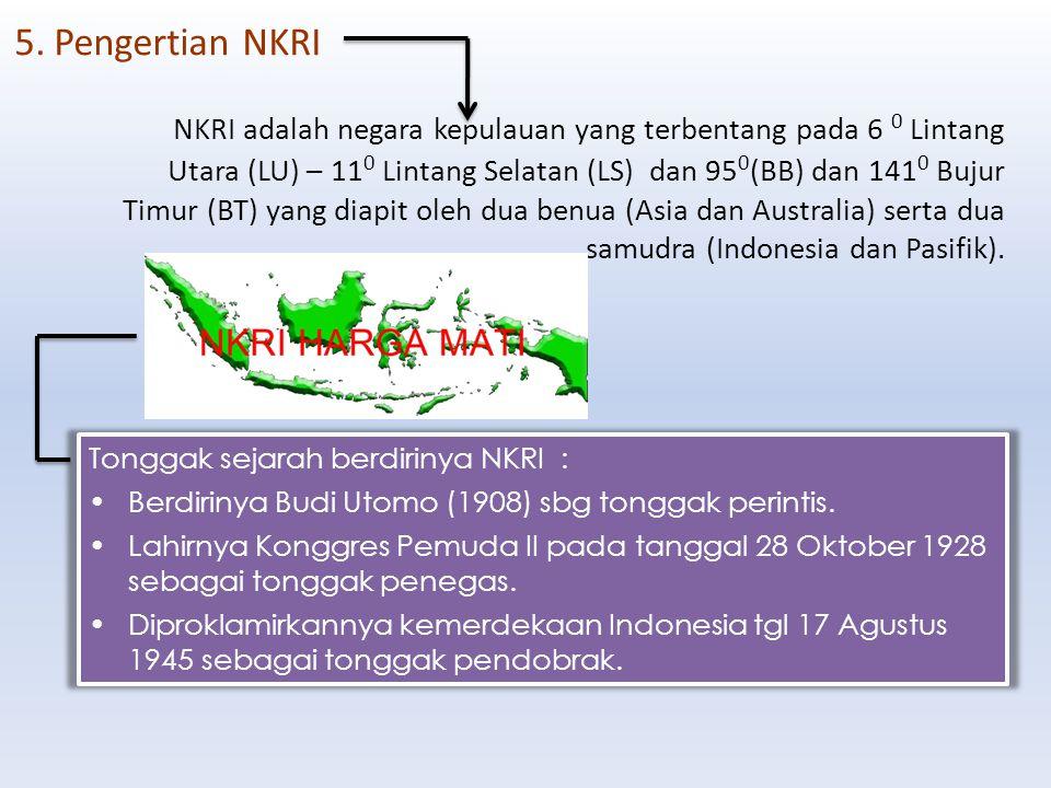 NKRI adalah negara kepulauan yang terbentang pada 6 0 Lintang Utara (LU) – 11 0 Lintang Selatan (LS) dan 95 0 (BB) dan 141 0 Bujur Timur (BT) yang dia