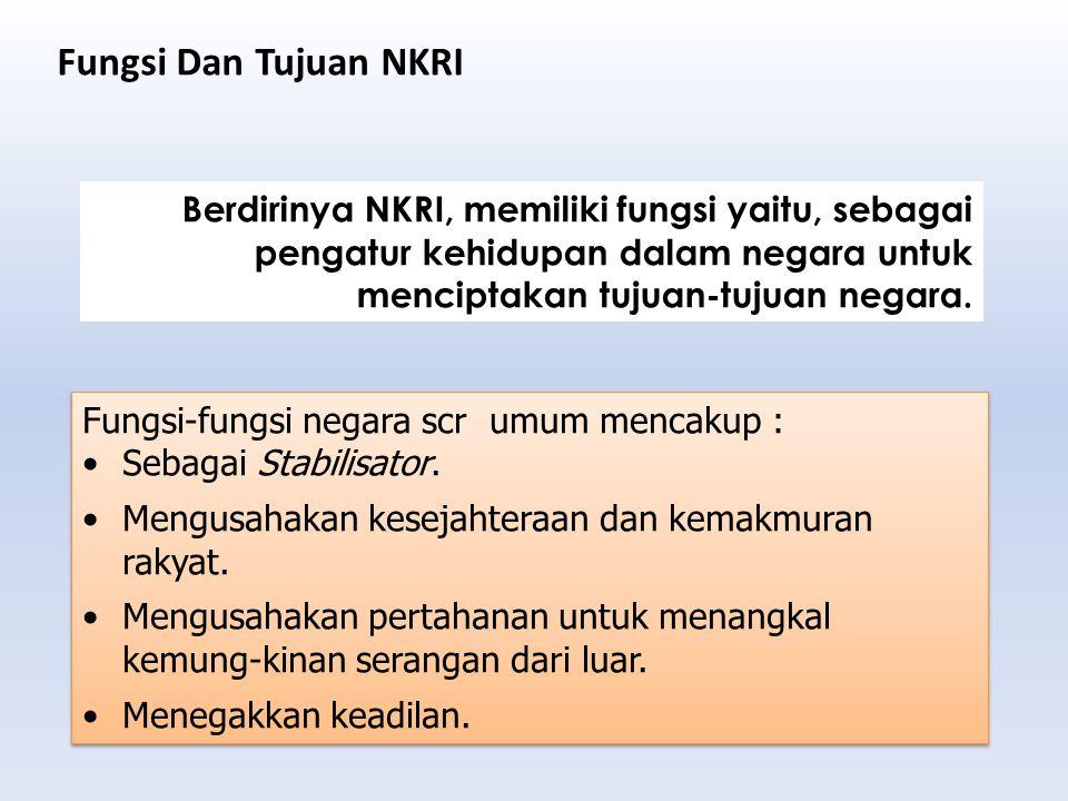 Berdirinya NKRI, memiliki fungsi yaitu, sebagai pengatur kehidupan dalam negara untuk menciptakan tujuan-tujuan negara. Fungsi-fungsi negara scr umum