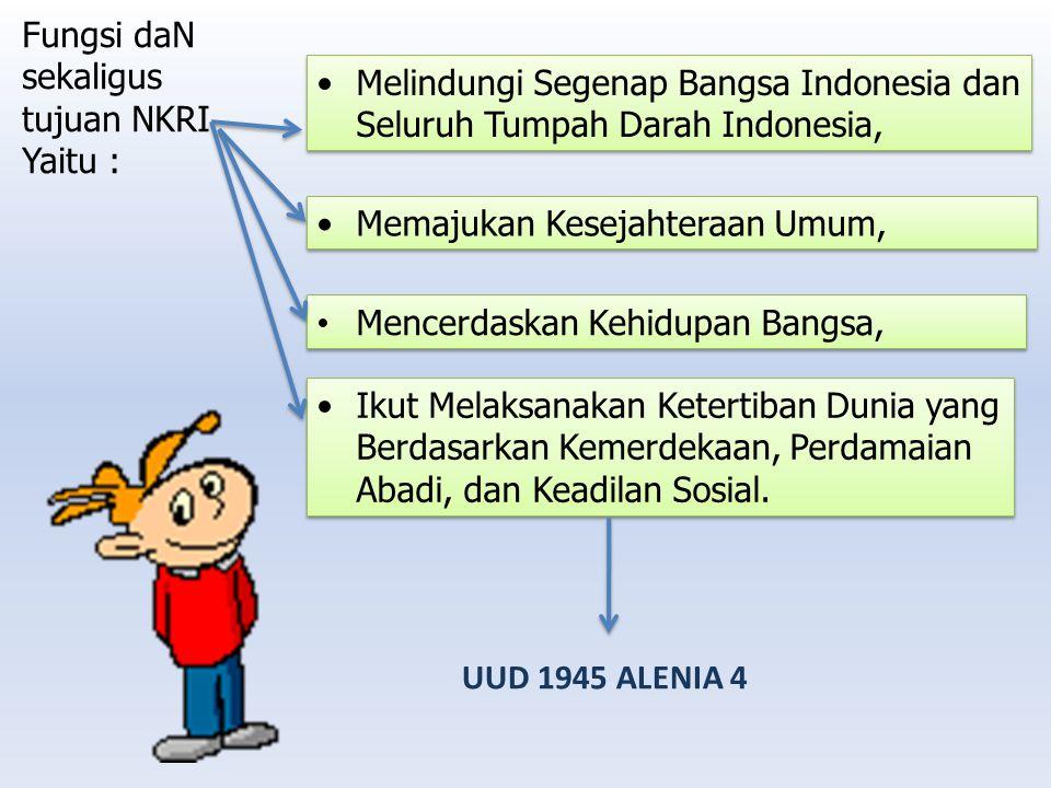 Fungsi daN sekaligus tujuan NKRI Yaitu : Melindungi Segenap Bangsa Indonesia dan Seluruh Tumpah Darah Indonesia, Memajukan Kesejahteraan Umum, Mencerd