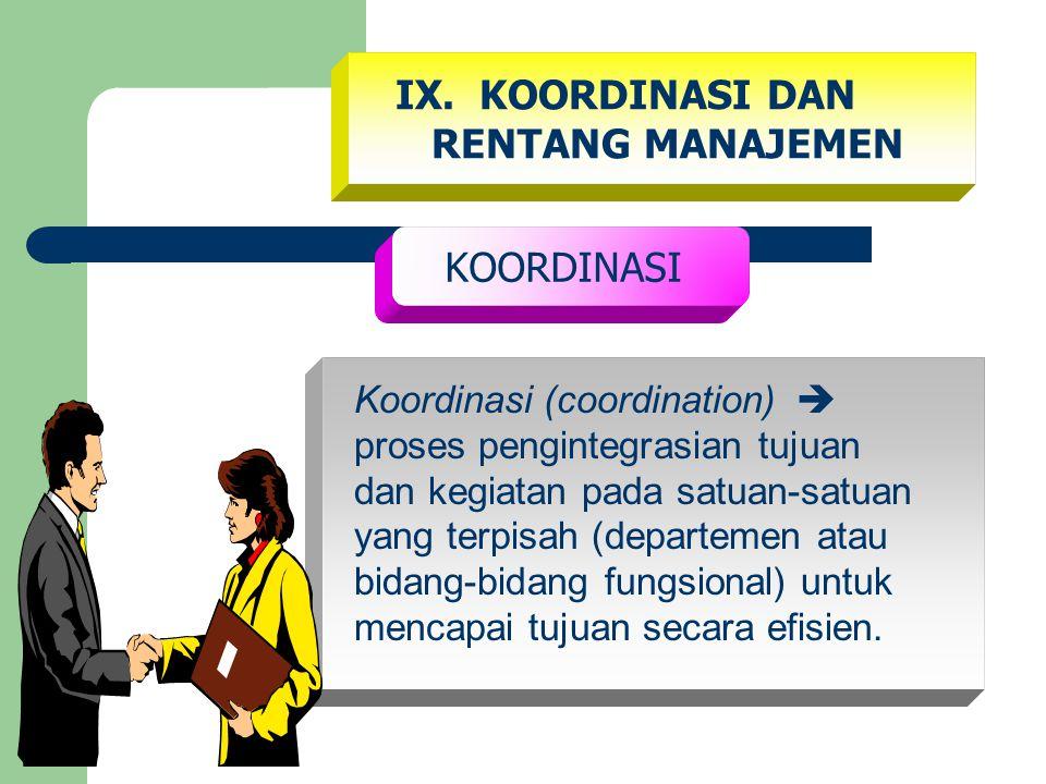 IX. KOORDINASI DAN RENTANG MANAJEMEN KOORDINASI Koordinasi (coordination)  proses pengintegrasian tujuan dan kegiatan pada satuan-satuan yang terpisa