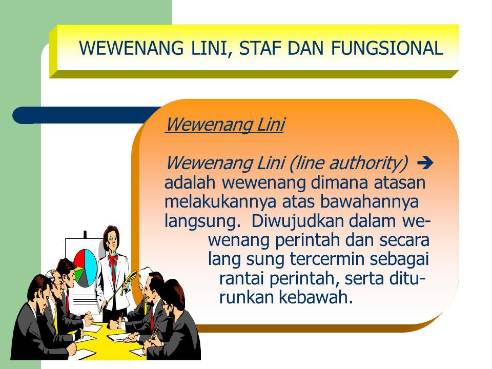 WEWENANG LINI, STAF DAN FUNGSIONAL Wewenang Lini Wewenang Lini (line authority)  adalah wewenang dimana atasan melakukannya atas bawahannya langsung.