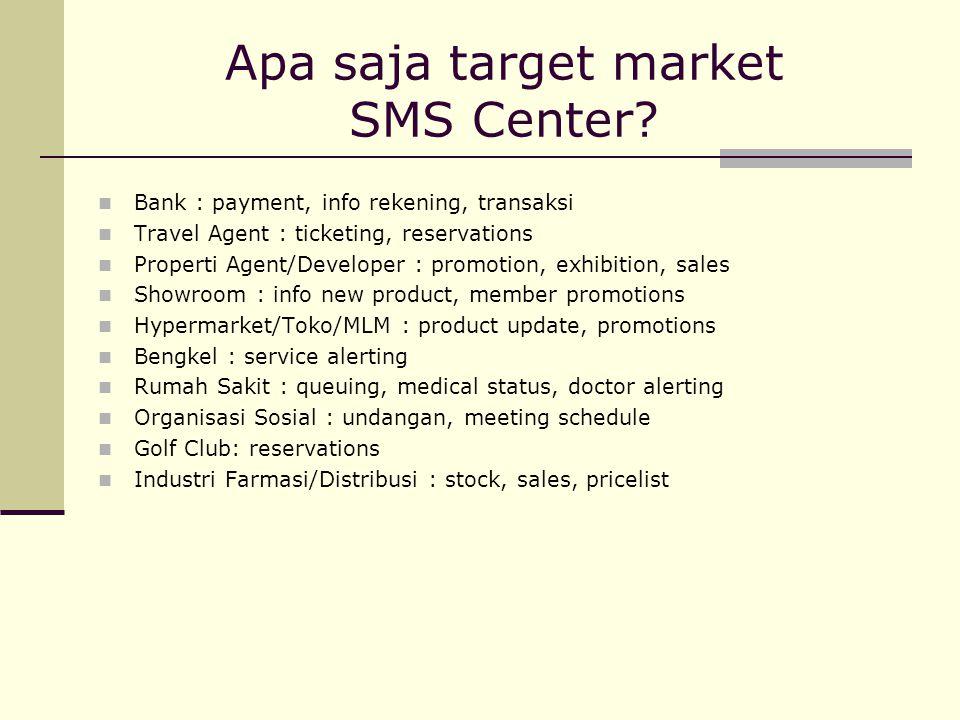 Apa saja target market SMS Center? Bank : payment, info rekening, transaksi Travel Agent : ticketing, reservations Properti Agent/Developer : promotio
