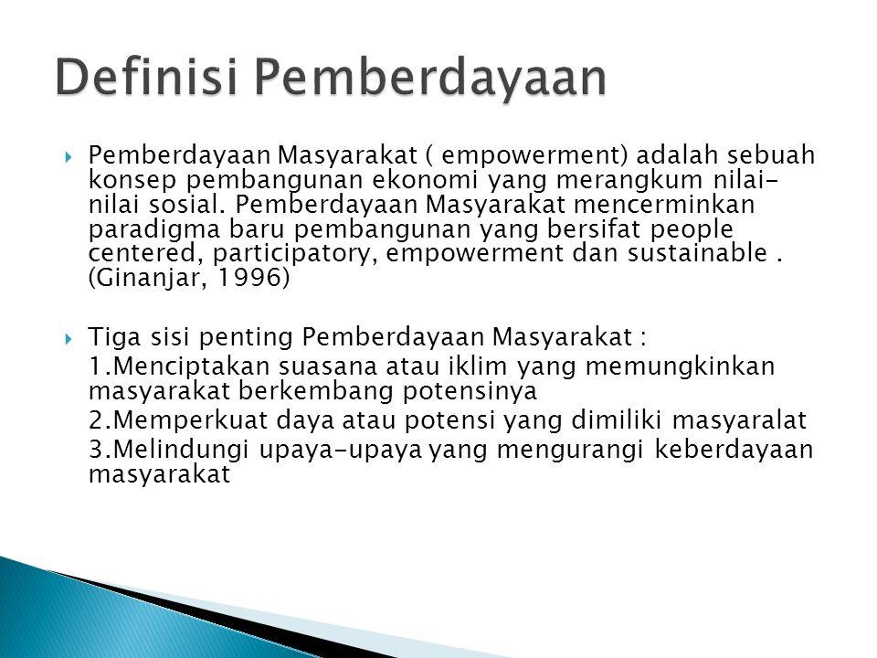  Pemberdayaan Masyarakat ( empowerment) adalah sebuah konsep pembangunan ekonomi yang merangkum nilai- nilai sosial. Pemberdayaan Masyarakat mencermi