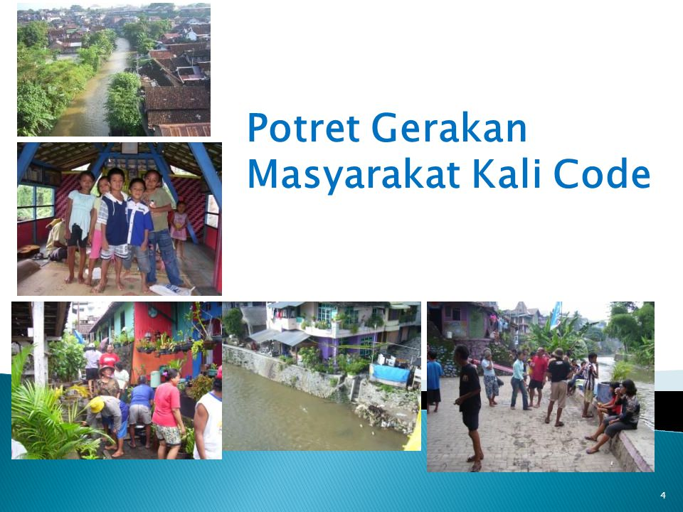 Komunitas Boyong Selatan – Plemburan Sleman 2008 Komunitas Peduli Code (KOMPAC) Blunyahgede Sinduadi 2004 FMCU : Forum Masy.