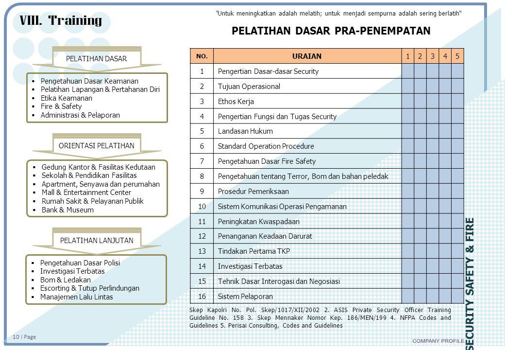 10 I Page  Pengetahuan Dasar Keamanan  Pelatihan Lapangan & Pertahanan Diri  Etika Keamanan  Fire & Safety  Administrasi & Pelaporan  Gedung Kan