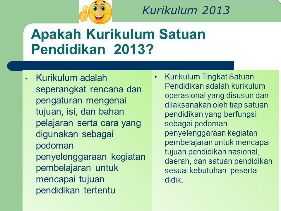 Kurikulum 2013 Apakah Kurikulum Satuan Pendidikan 2013? Kurikulum adalah seperangkat rencana dan pengaturan mengenai tujuan, isi, dan bahan pelajaran