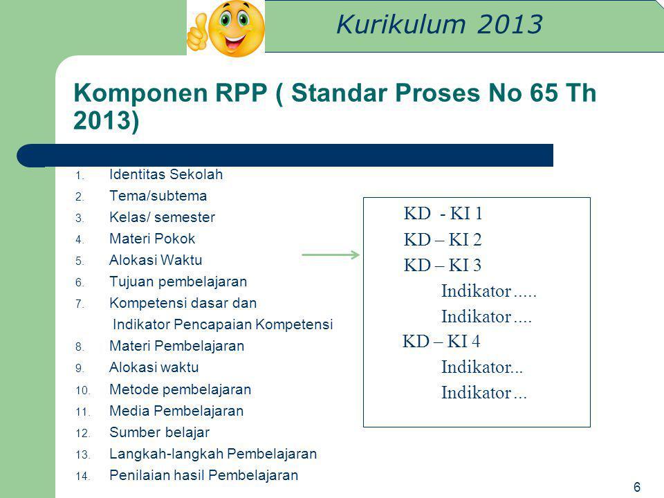 Kurikulum 2013 Komponen RPP ( Standar Proses No 65 Th 2013) 1. Identitas Sekolah 2. Tema/subtema 3. Kelas/ semester 4. Materi Pokok 5. Alokasi Waktu 6