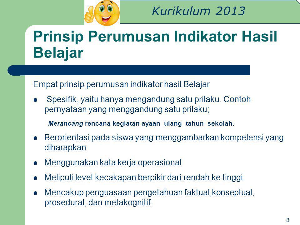 Kurikulum 2013 Prinsip Perumusan Indikator Hasil Belajar Empat prinsip perumusan indikator hasil Belajar Spesifik, yaitu hanya mengandung satu prilaku
