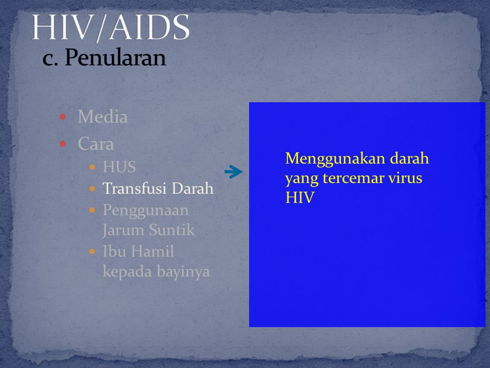 Media Cara HUS Transfusi Darah Penggunaan Jarum Suntik Ibu Hamil kepada bayinya Menggunakan darah yang tercemar virus HIV