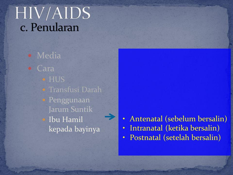 Media Cara HUS Transfusi Darah Penggunaan Jarum Suntik Ibu Hamil kepada bayinya Antenatal (sebelum bersalin) Intranatal (ketika bersalin) Postnatal (s