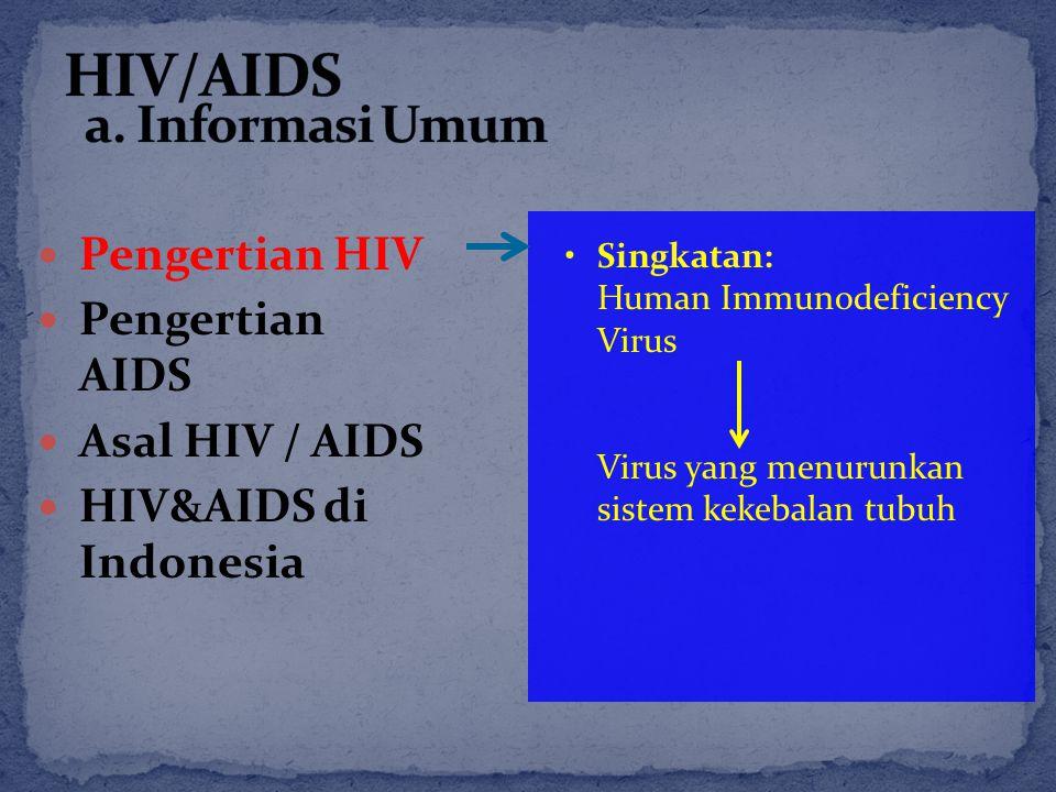 Pengertian HIV Pengertian AIDS Asal HIV / AIDS HIV&AIDS di Indonesia Singkatan: Human Immunodeficiency Virus Virus yang menurunkan sistem kekebalan tu