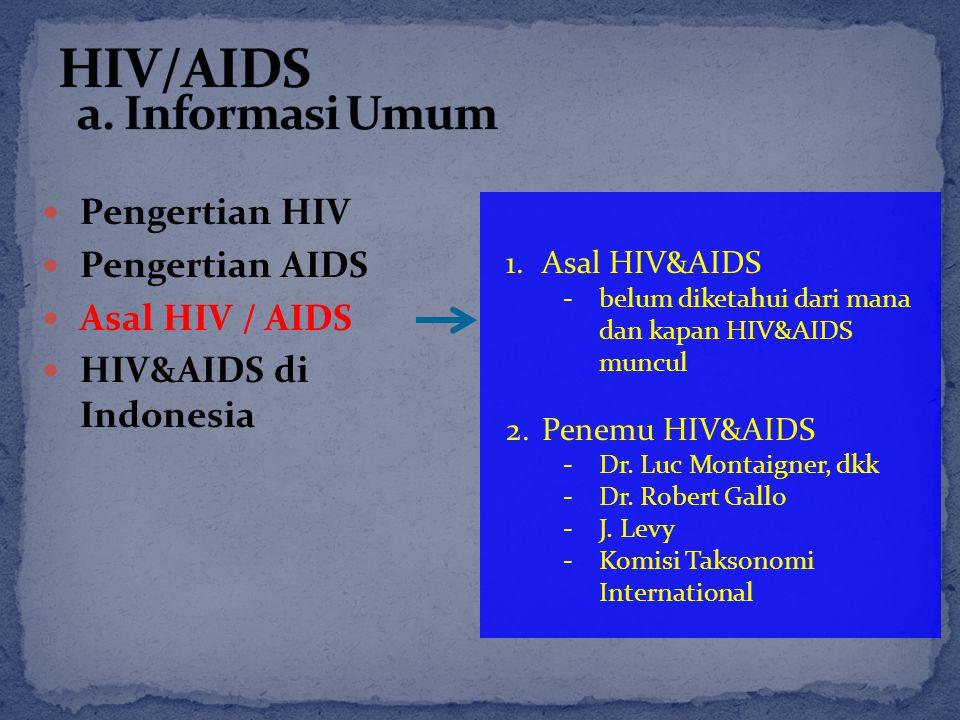 Pengertian HIV Pengertian AIDS Asal HIV / AIDS HIV&AIDS di Indonesia 1.Asal HIV&AIDS -belum diketahui dari mana dan kapan HIV&AIDS muncul 2.Penemu HIV