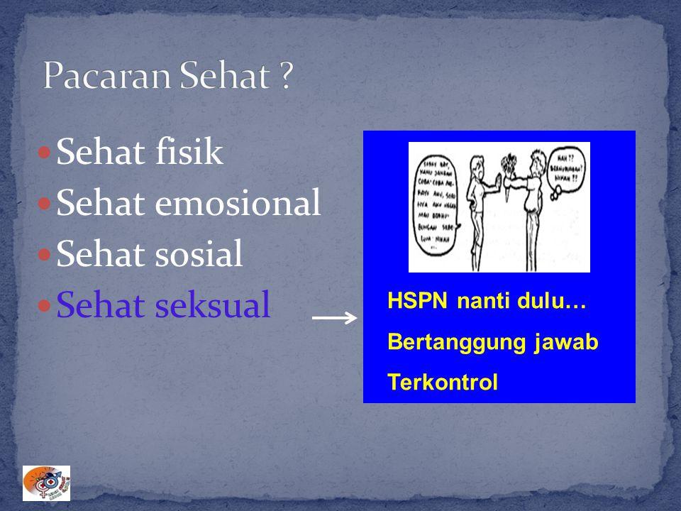 Sehat fisik Sehat emosional Sehat sosial Sehat seksual HSPN nanti dulu… Bertanggung jawab Terkontrol