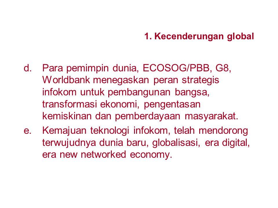 1. Kecenderungan global a.Hampir semua negara sudah menerapkan deregulasi dan privatisasi menyeluruh sektor infokom. b.Perkembangan teknologi infokom