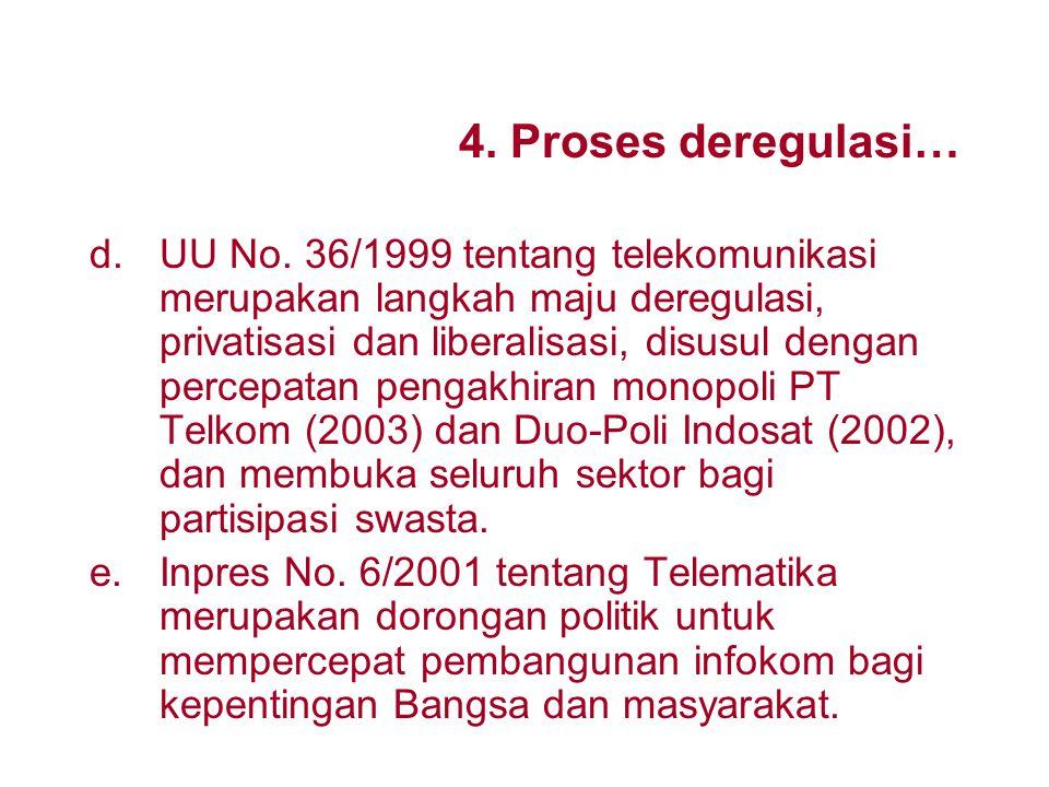 4. Proses deregulasi dan privatisasi di Indonesia a.Indonesia termasuk yang paling mula mengadakan deregulasi sektor telekomunikasi dengan PN/Perum/ P
