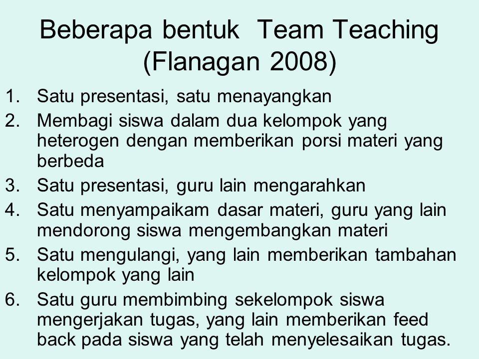 Kategori team teaching Goetz (2008:2) Dua atau lebih guru mengajar satu kelas yang sama, waktu, dan pada siswa yang sama Para guru yang bekerja sama tetapi tidak mengajar bersama dalam satu kelompok siswa atau tidak pada waktu yang sama.