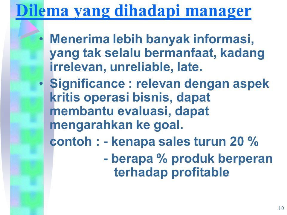 10 Dilema yang dihadapi manager Menerima lebih banyak informasi, yang tak selalu bermanfaat, kadang irrelevan, unreliable, late.