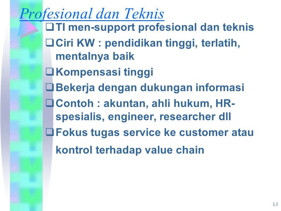 13 Profesional dan Teknis  TI men-support profesional dan teknis  Ciri KW : pendidikan tinggi, terlatih, mentalnya baik  Kompensasi tinggi  Bekerja dengan dukungan informasi  Contoh : akuntan, ahli hukum, HR- spesialis, engineer, researcher dll  Fokus tugas service ke customer atau kontrol terhadap value chain