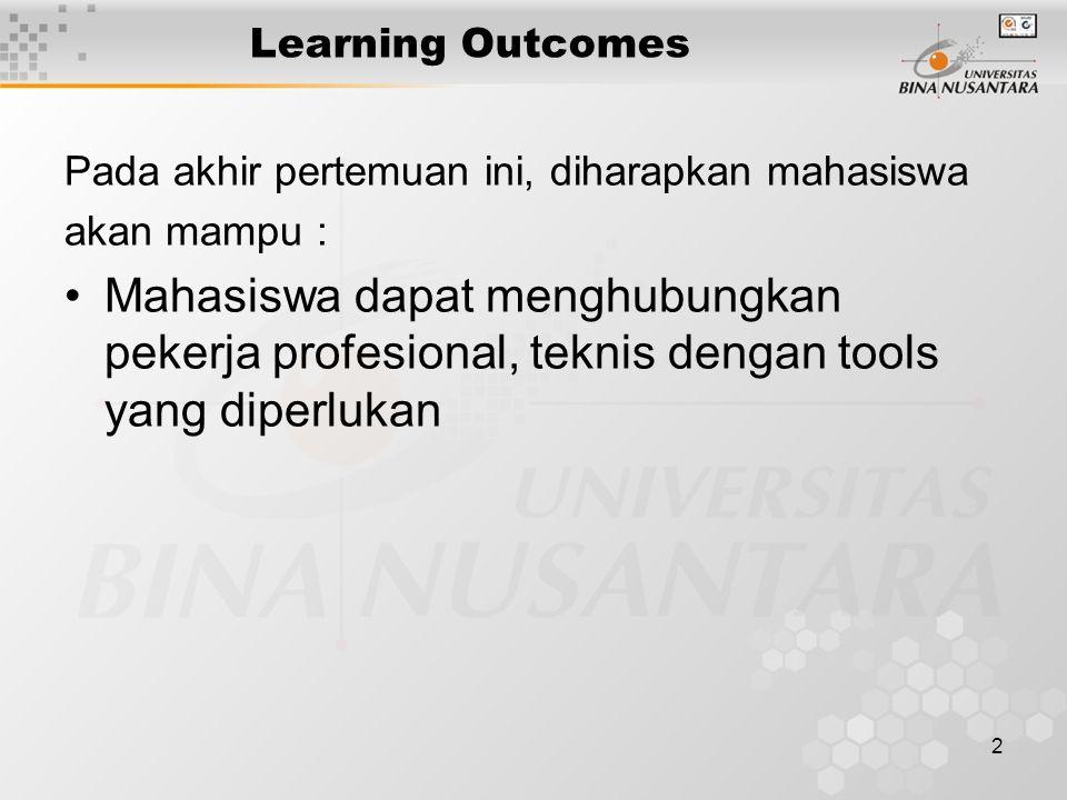 2 Learning Outcomes Pada akhir pertemuan ini, diharapkan mahasiswa akan mampu : Mahasiswa dapat menghubungkan pekerja profesional, teknis dengan tools yang diperlukan